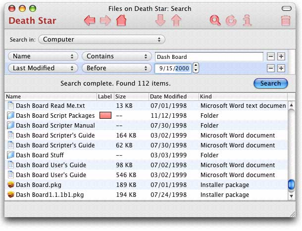 Screen shot: the iGet search window